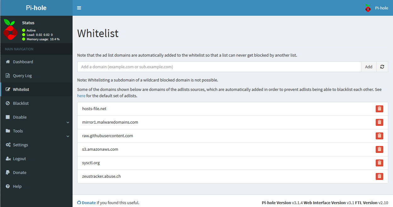 Web interface Default Whitelist Screen