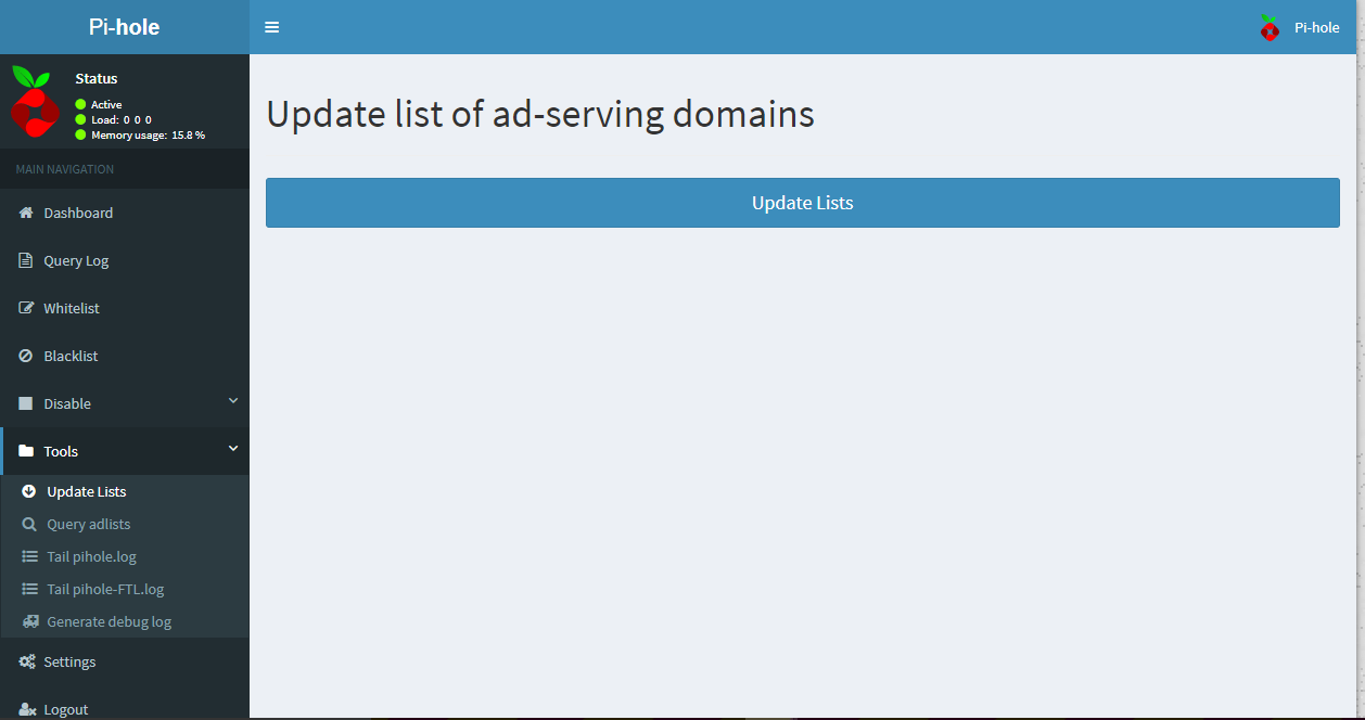Web Interface Updating List of Ad-Serving Domains