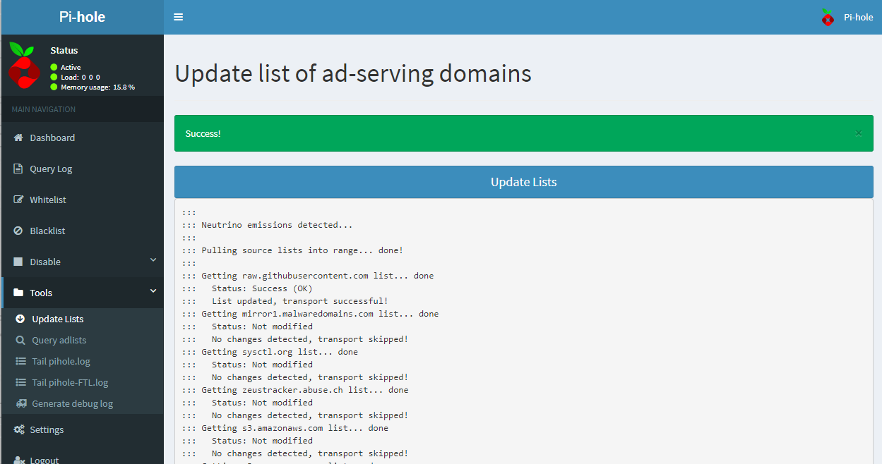 Web Interface Updated List of Ad-Serving Domains