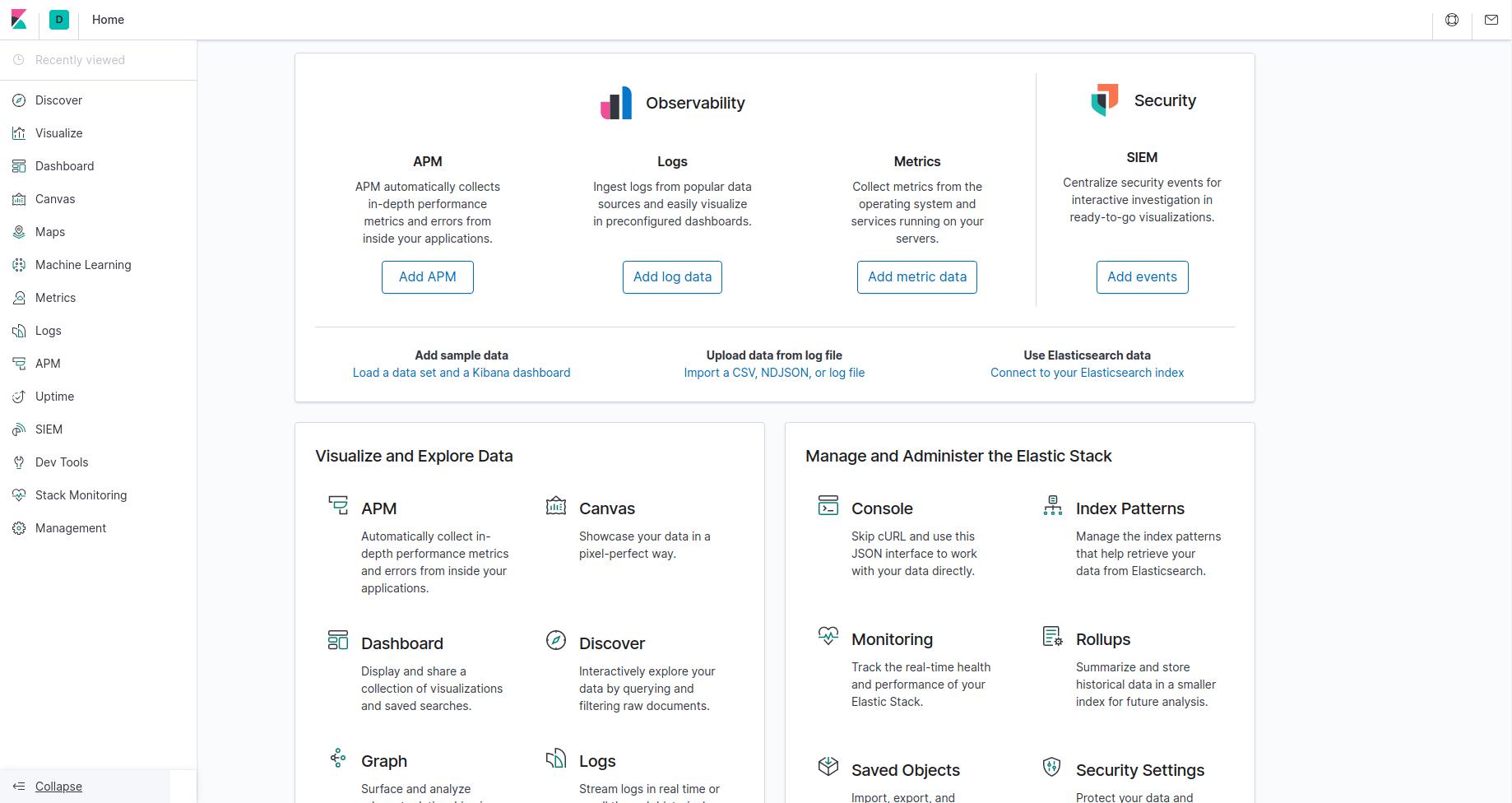 Kibana Homepage