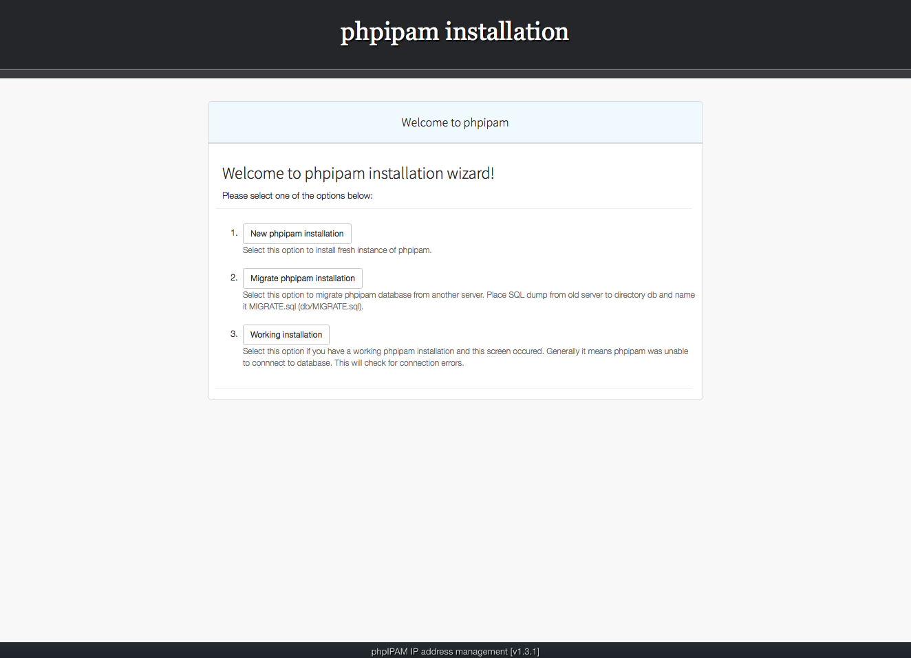 Installing phpIPAM, step 1