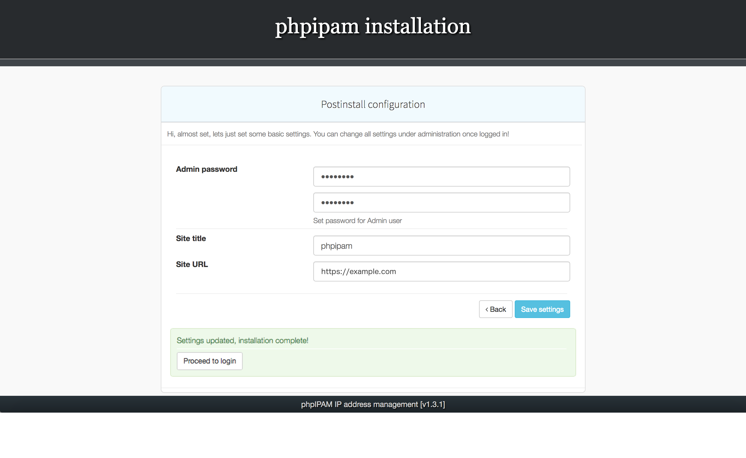 Installing phpIPAM, step 6
