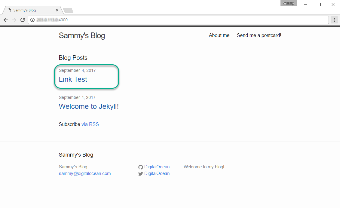 Screenshot of Homepage with new blog post visible