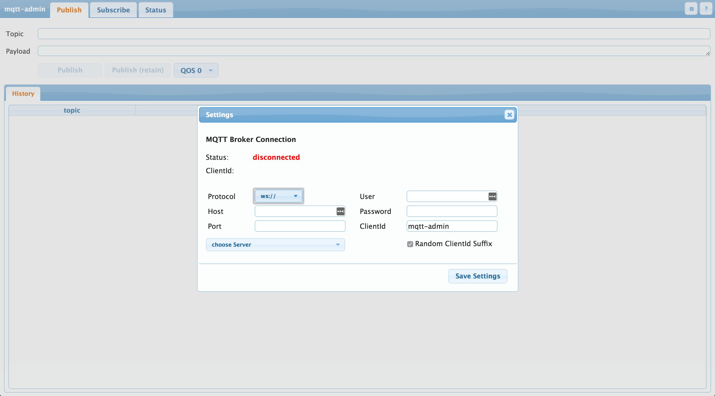 mqtt-admin's initial screen