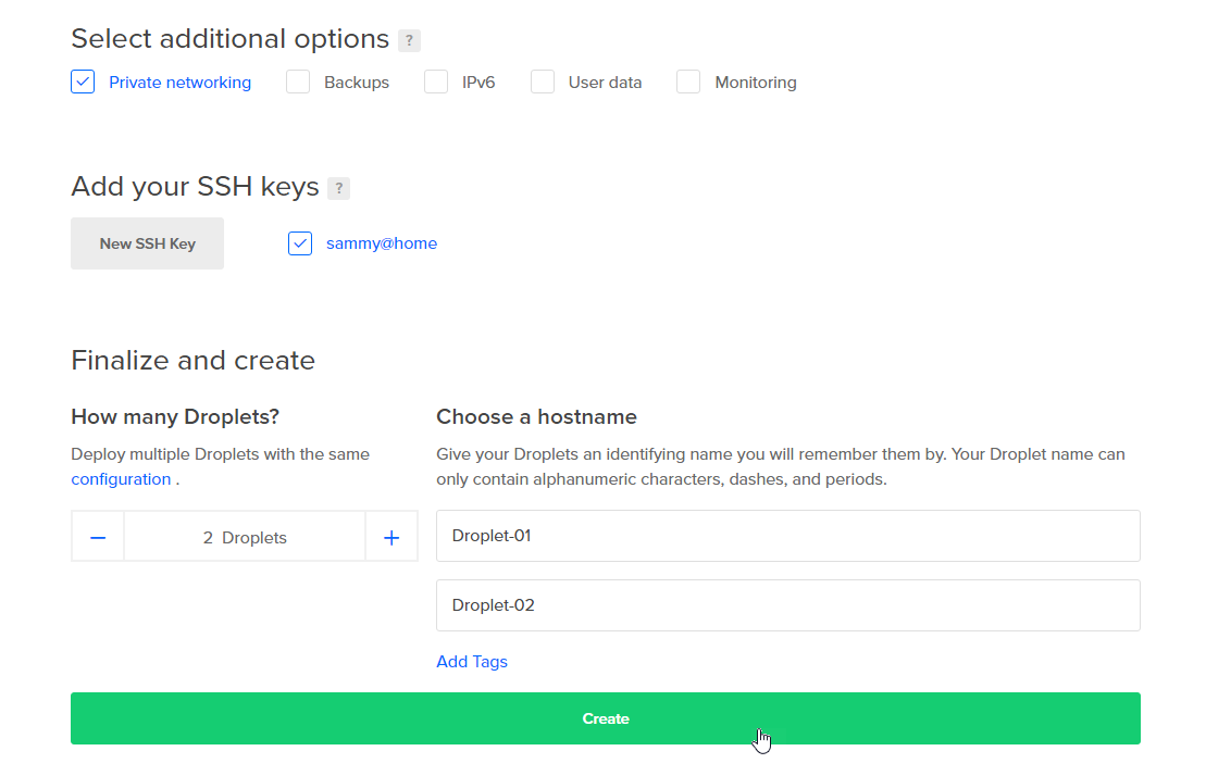 Screenshot of key options selected
