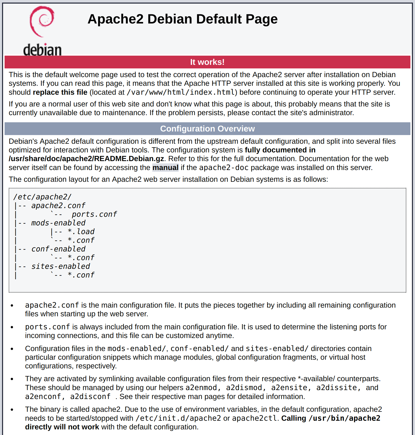 Default apache on debian index.html page