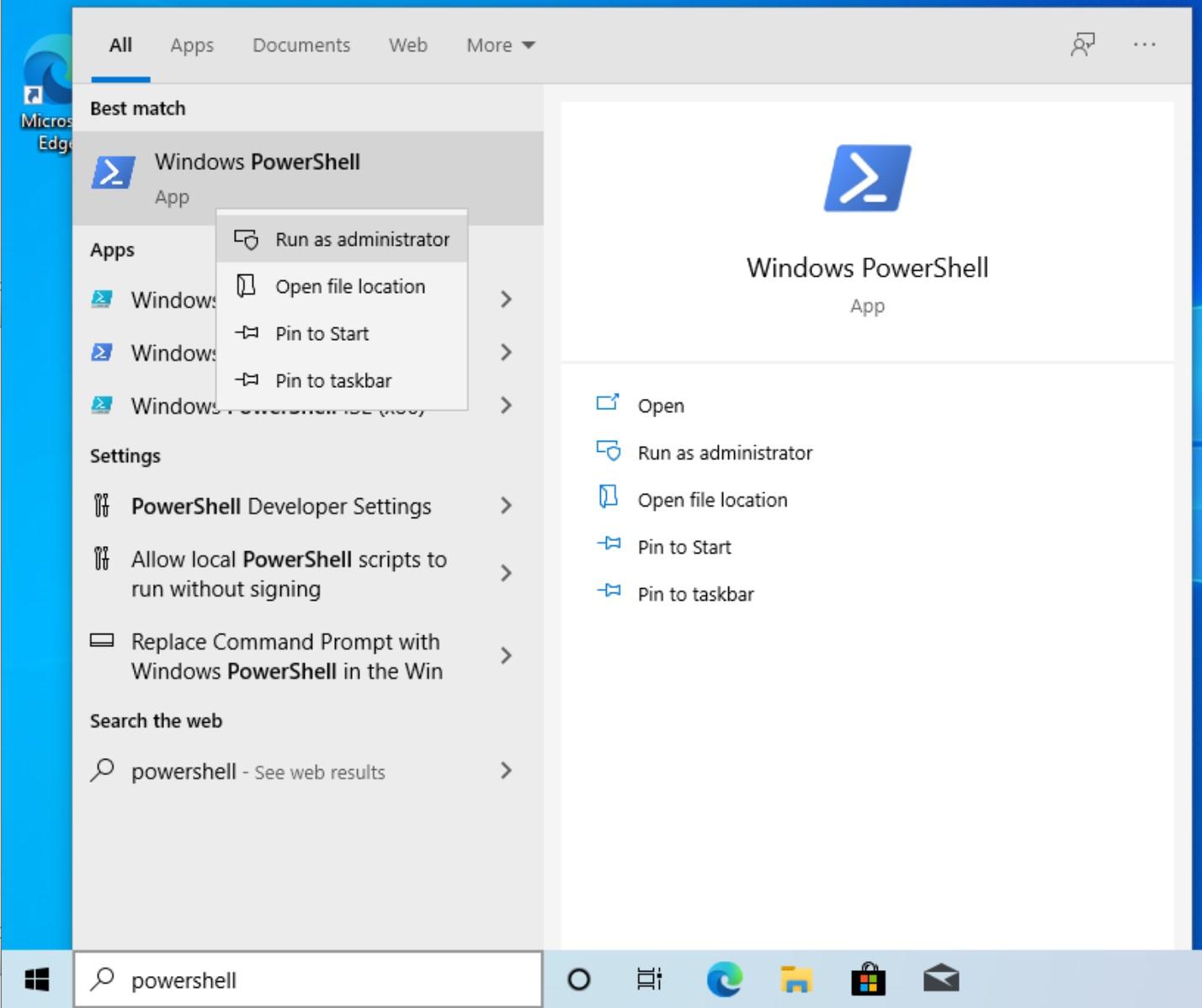 Open Windows PowerShell as an administrator