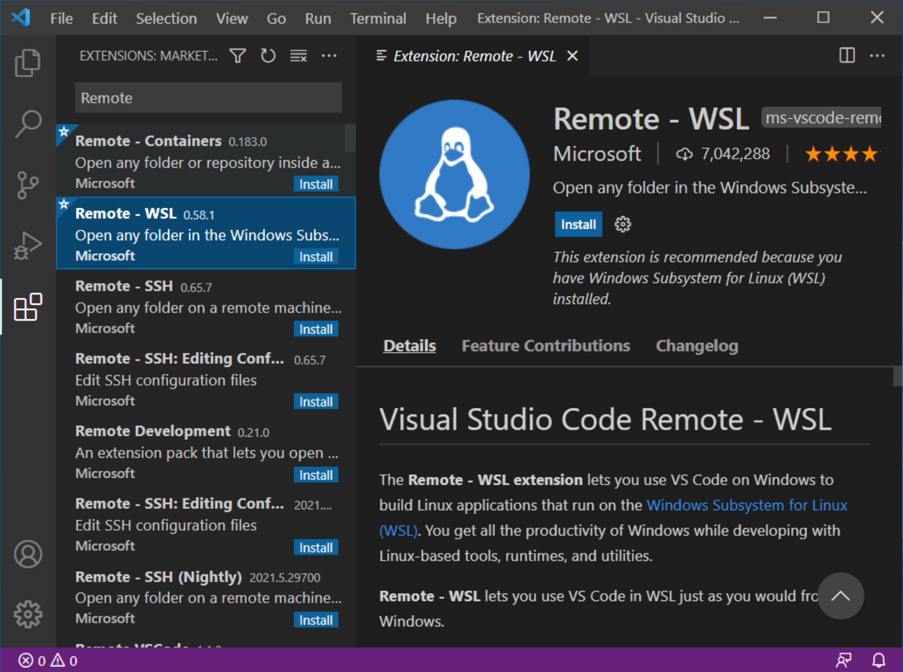 Open VSCode, go to Extensions and search for Remote. Install the Remote - WSL Extension