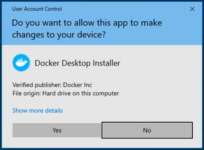 Run the executable and let Docker make changes