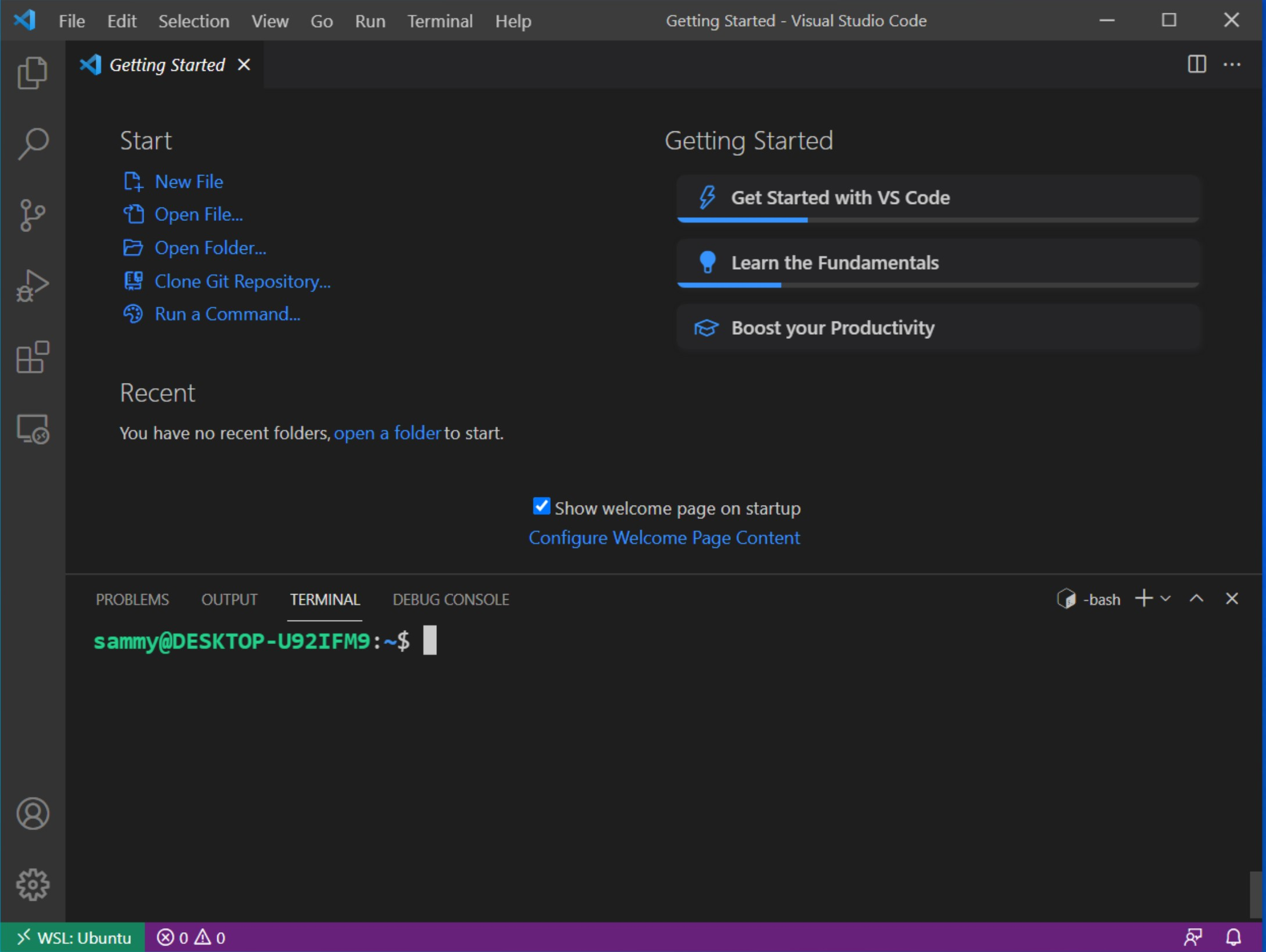 If you open a new terminal you'll open your Ubuntu terminal and be able to develop using VSCode directly in the WSL