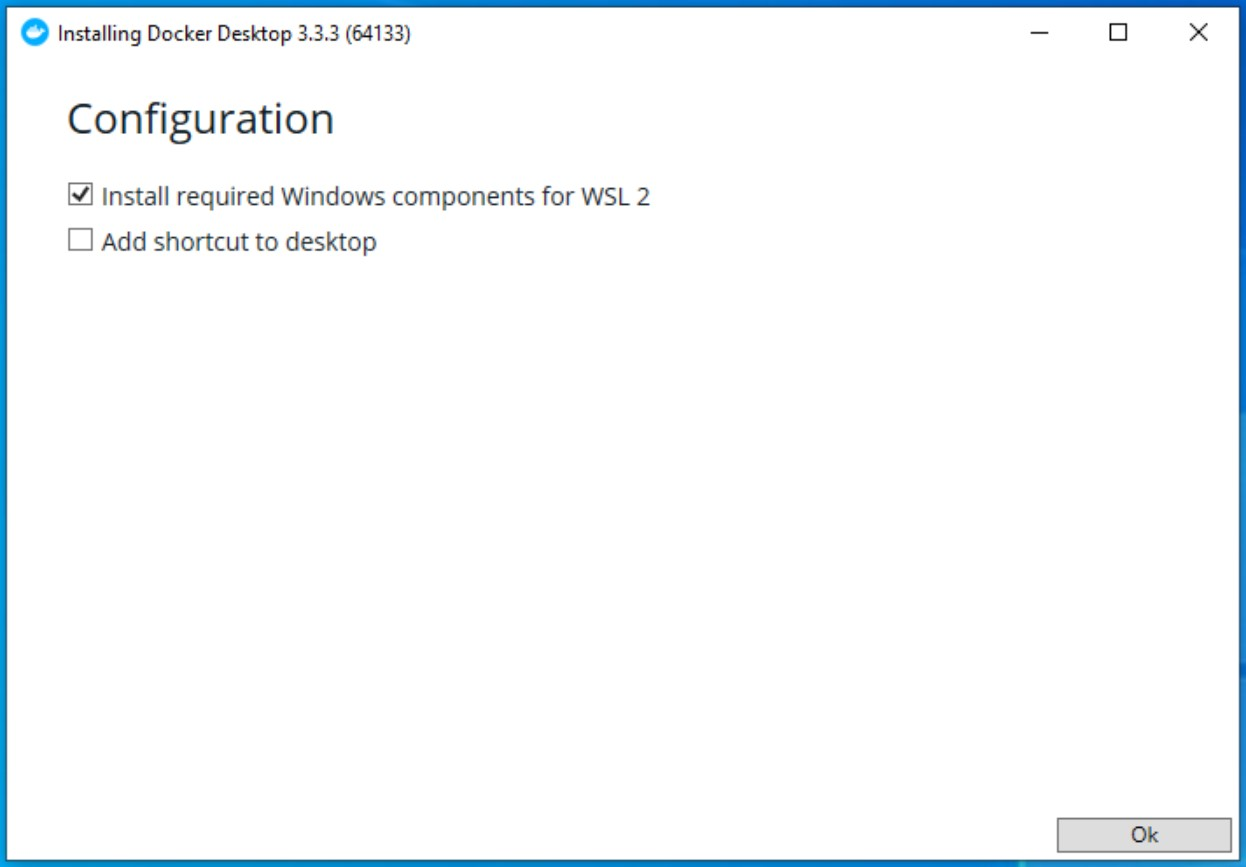 """Make sure that """"Install required Windows components for WSL 2"""" is checked"""