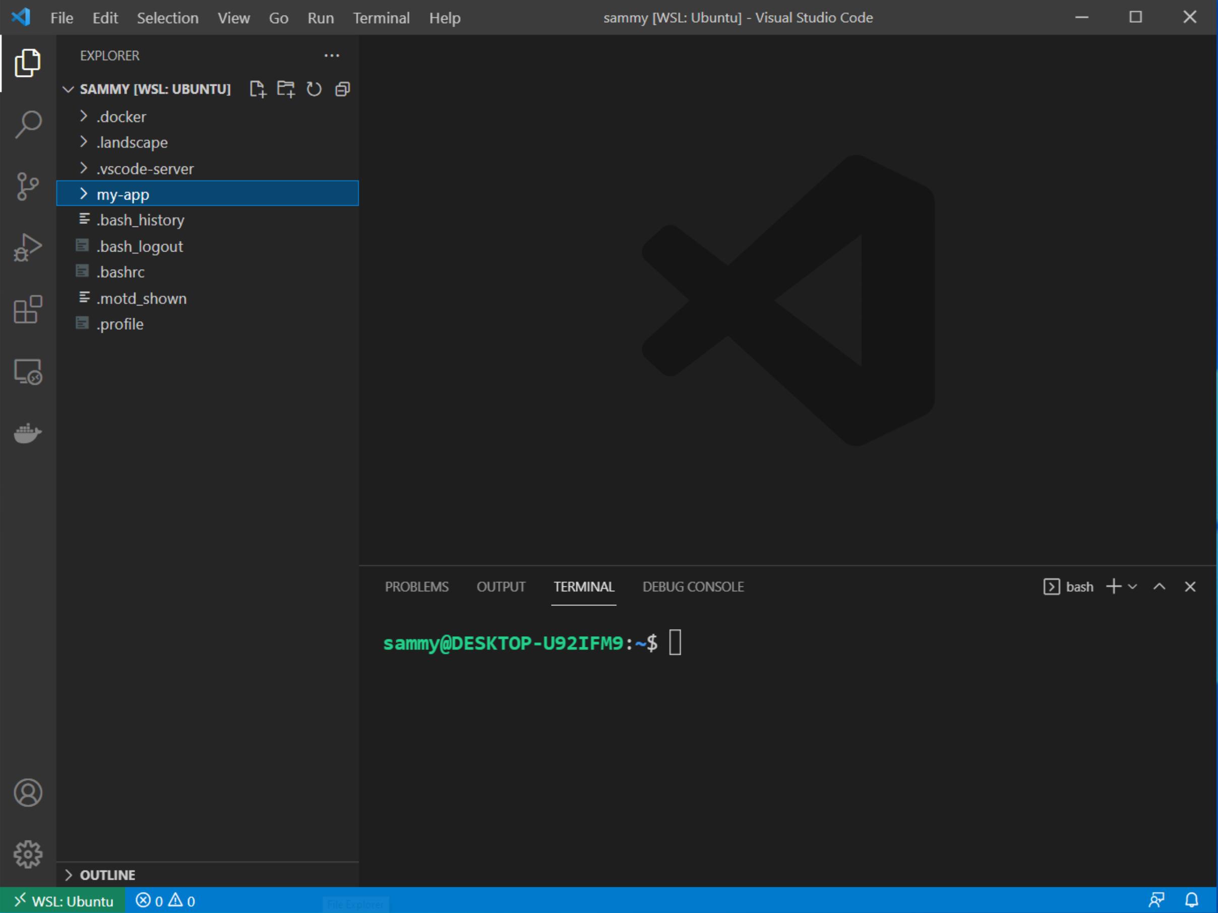 New terminal in Visual Studio Code