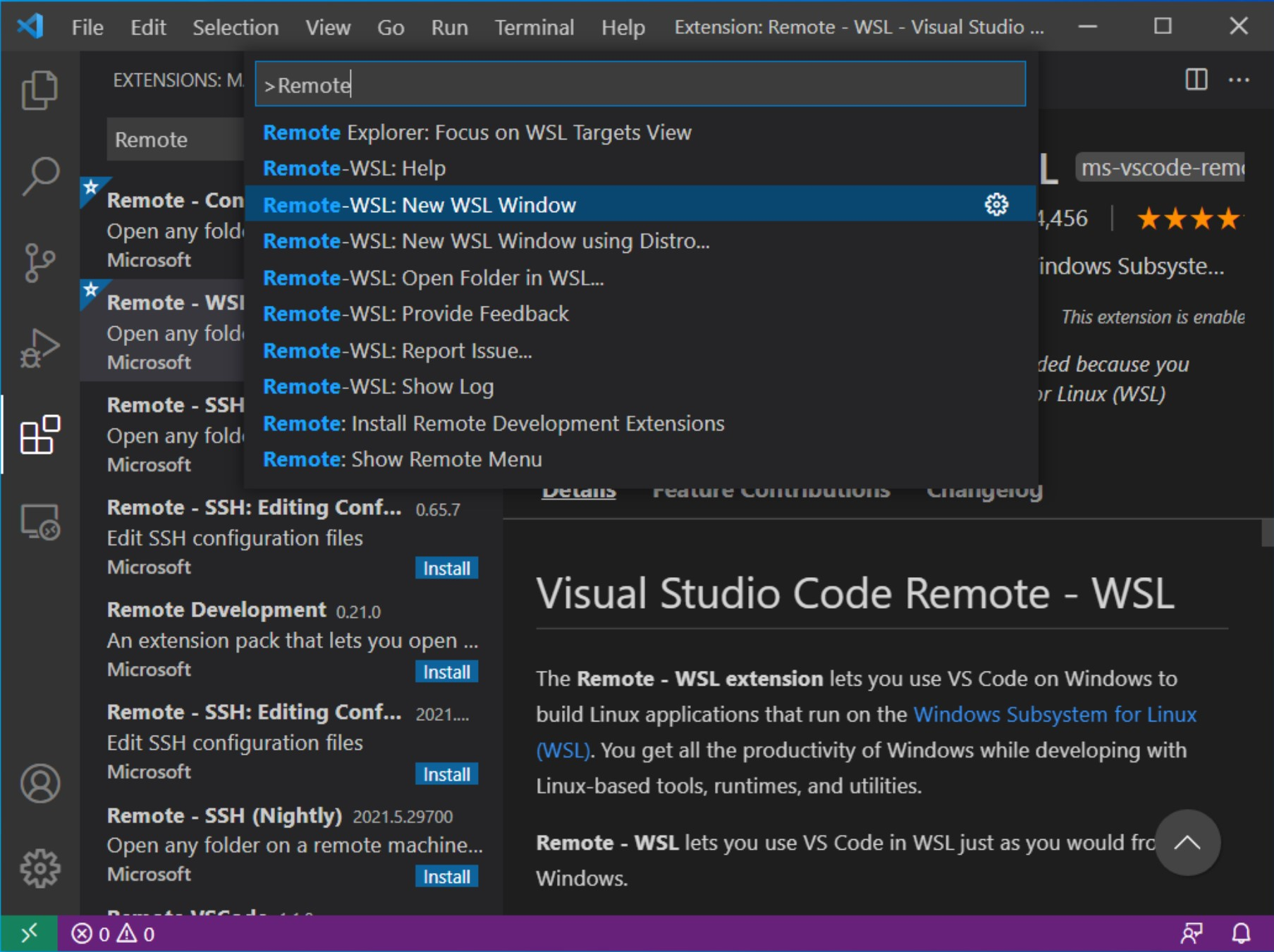 Press CTRL + Shift + P to open the VSCode command dialog and type Remote. You'll see WSL there. Select Remote-WSL: New WSL Window