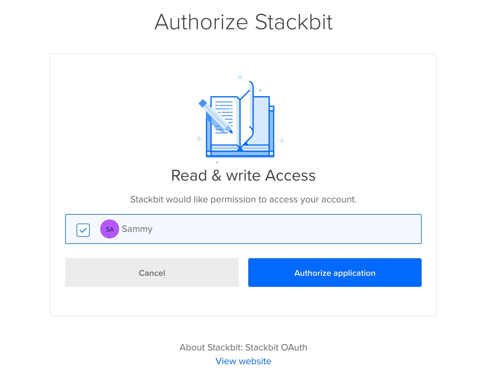 Authorize Stackbit