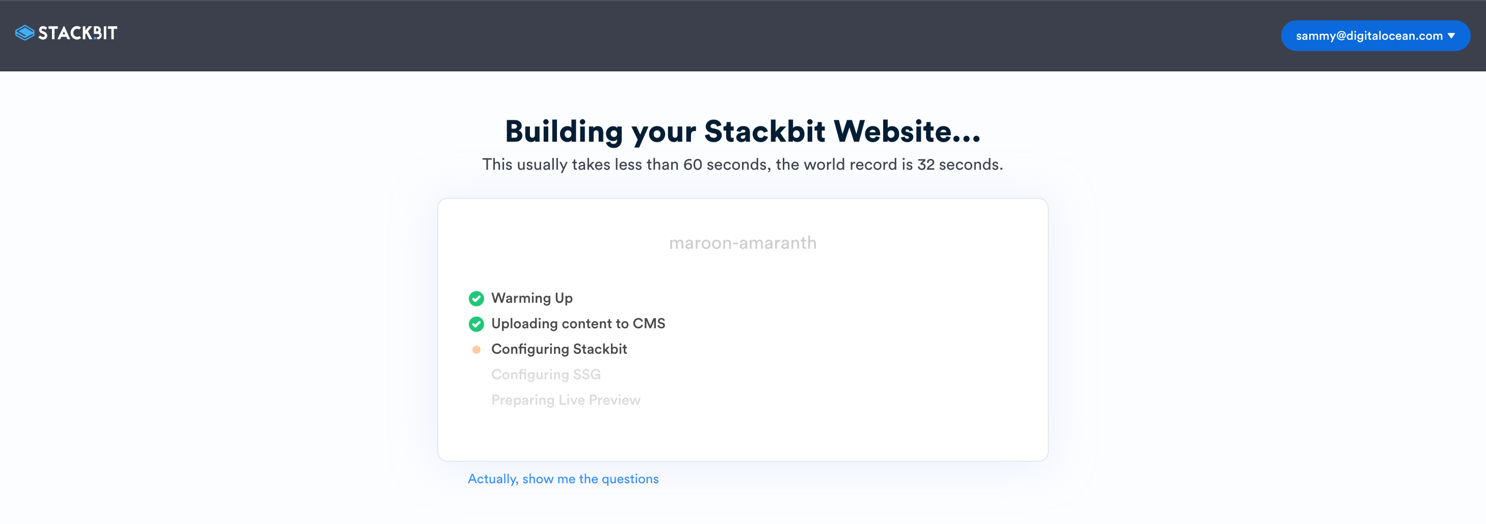 Create your new Stackbit site