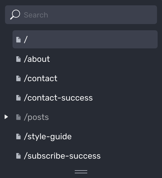 Page list section