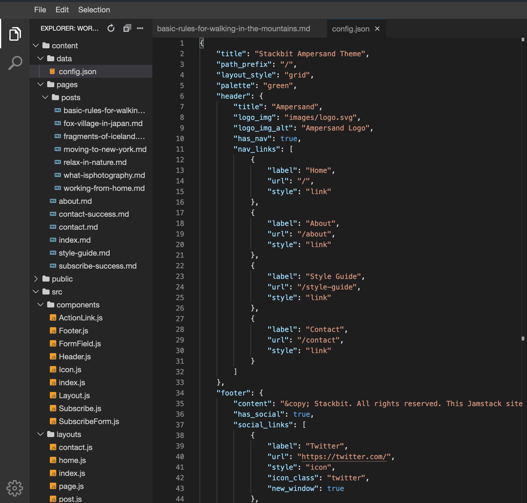 Editor open with config.json