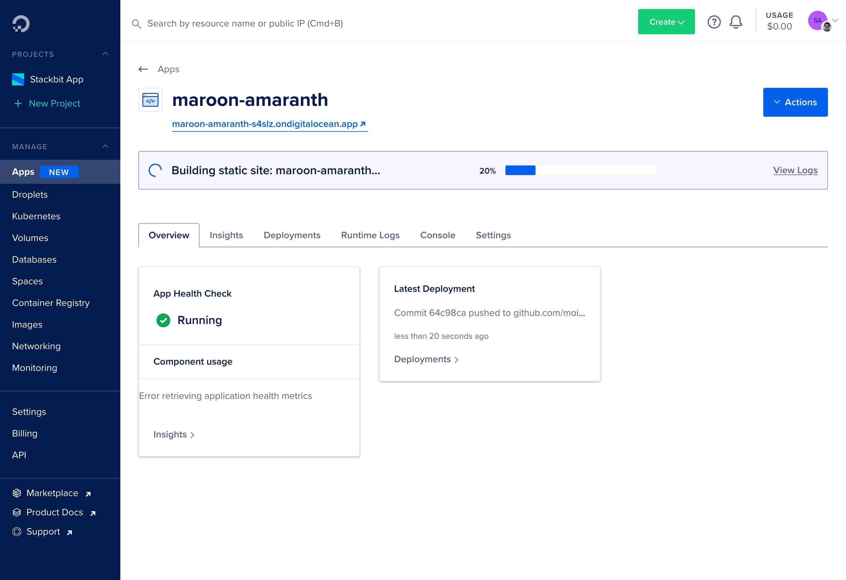 App Platform Dashboard