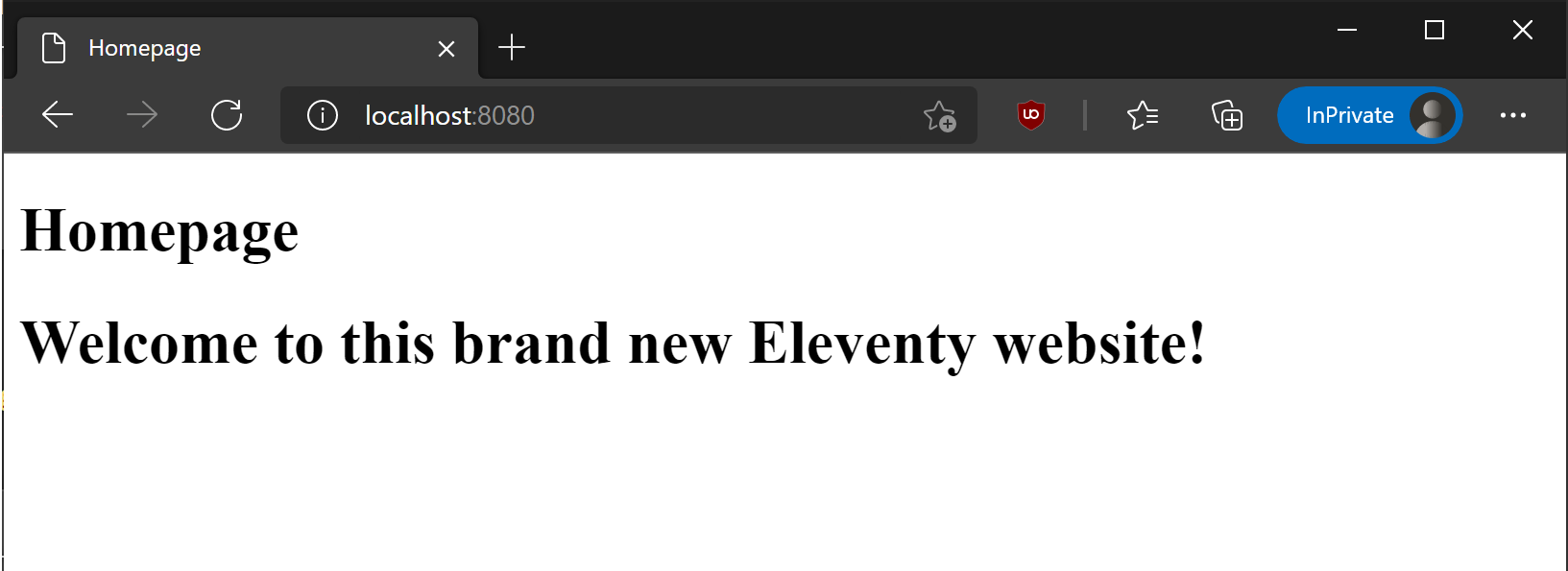 Eleventy homepage in action