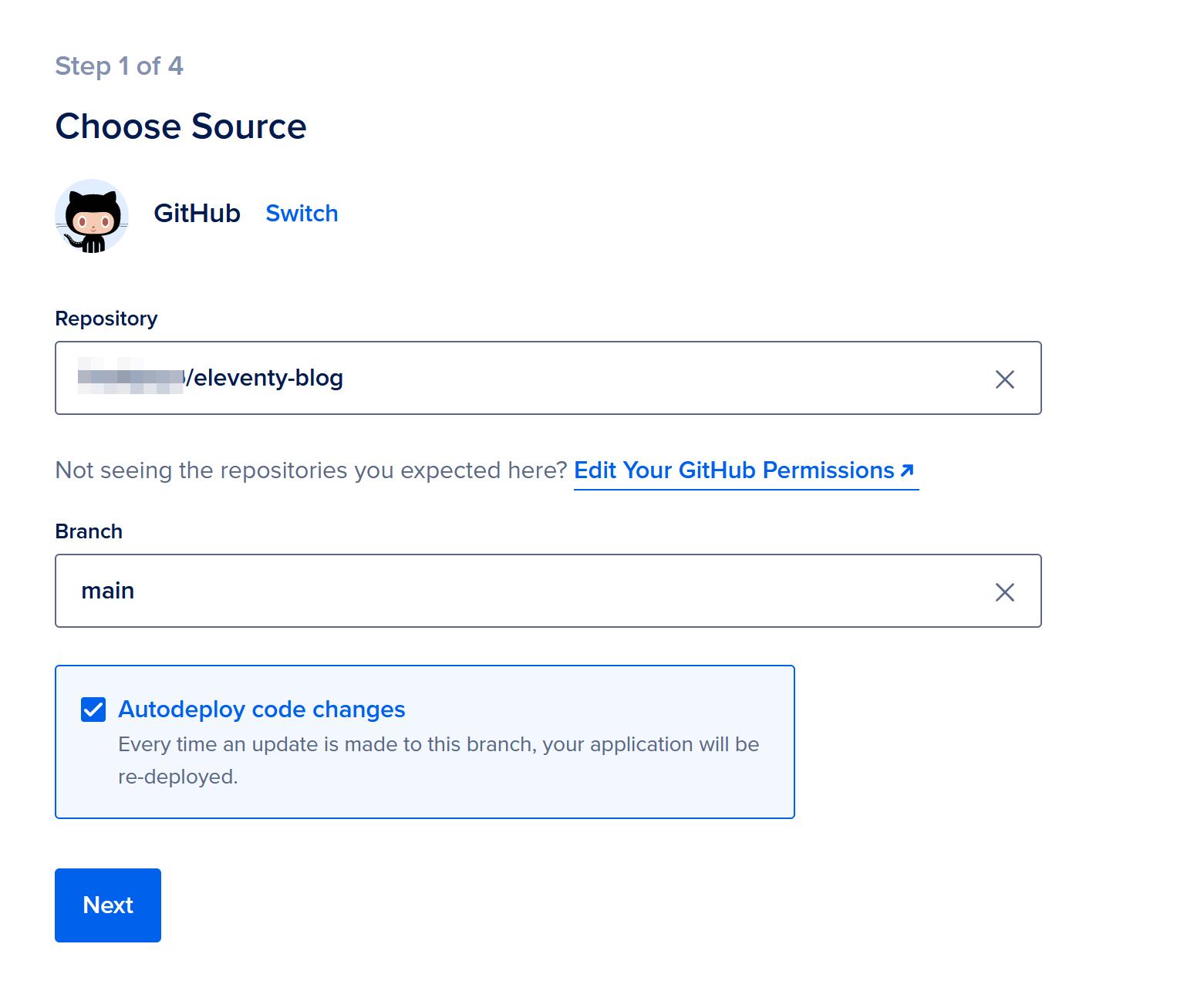 Configure GitHub source