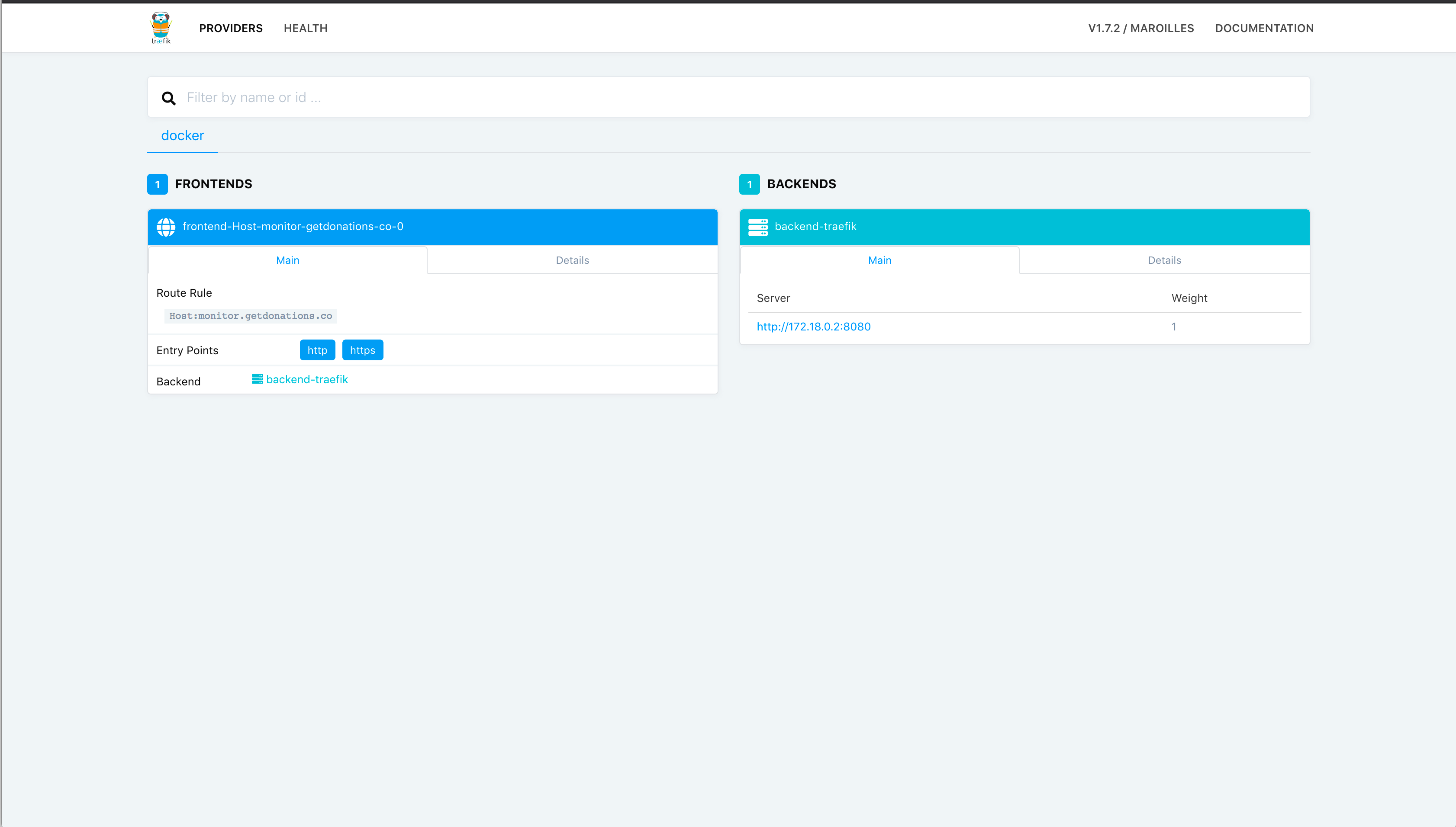 Empty Traefik dashboard