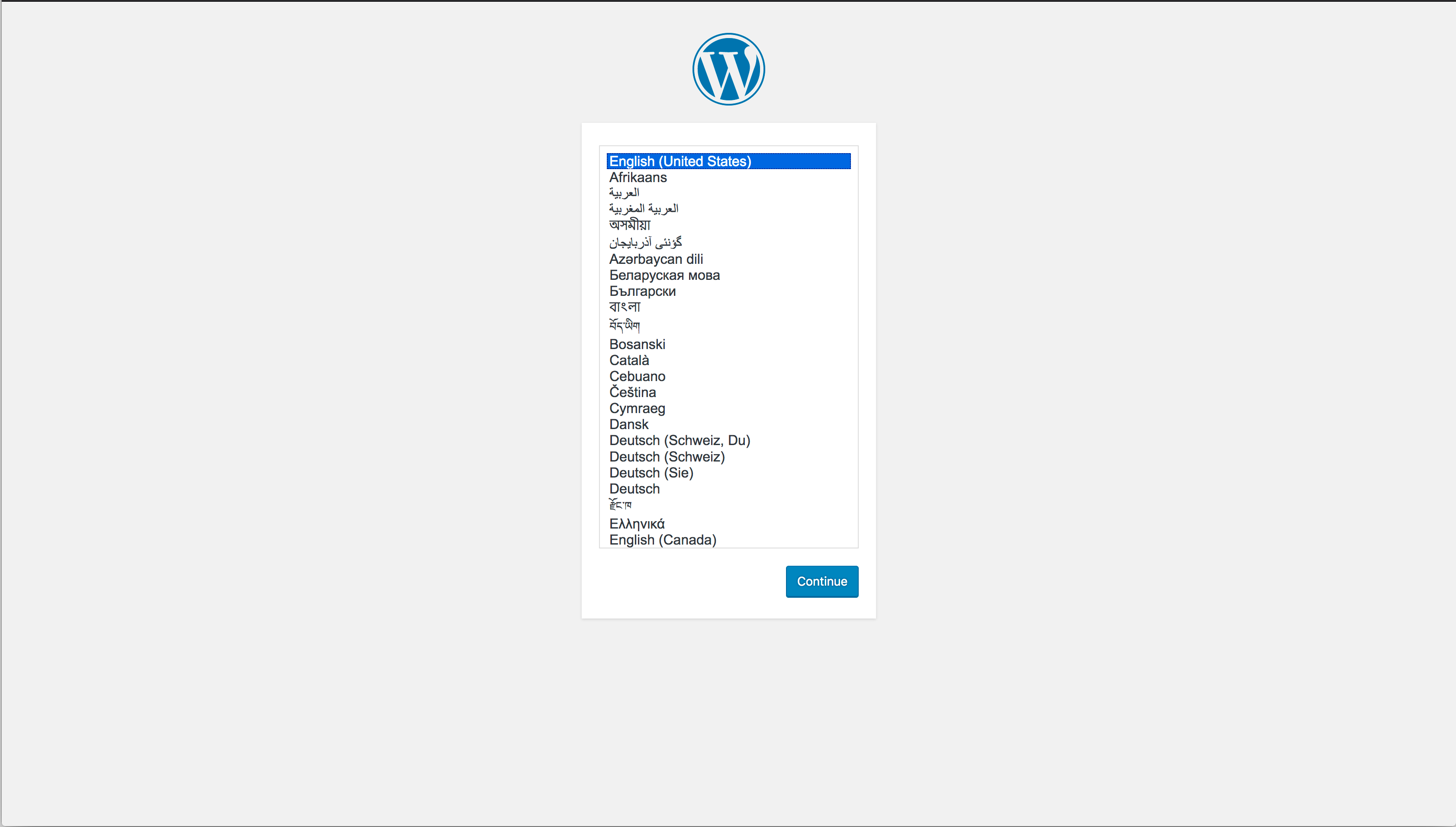 WordPress setup screen