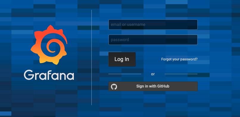 Grafana Login page with GitHub