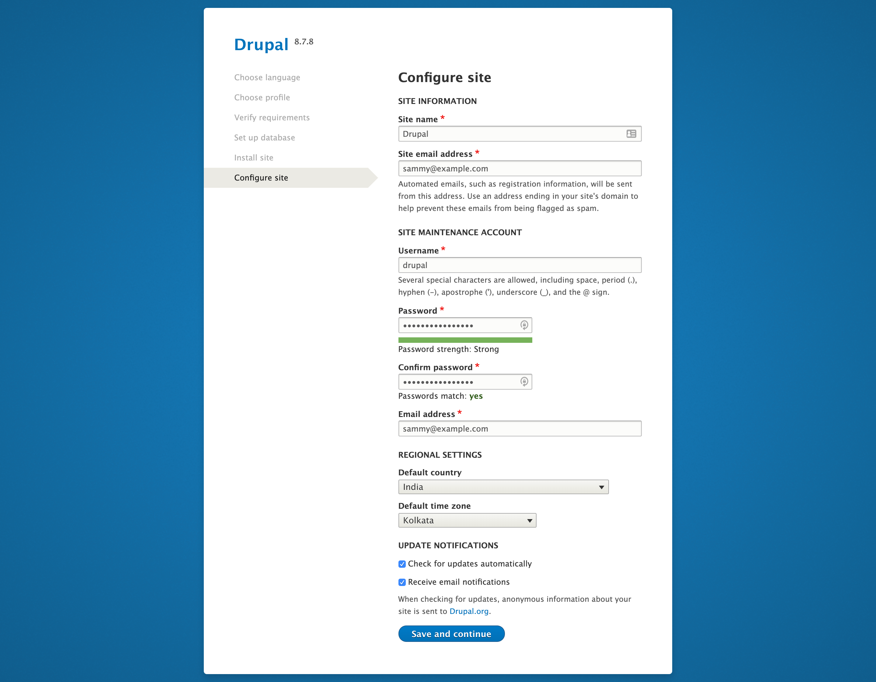 Configure site page on Drupal web interface