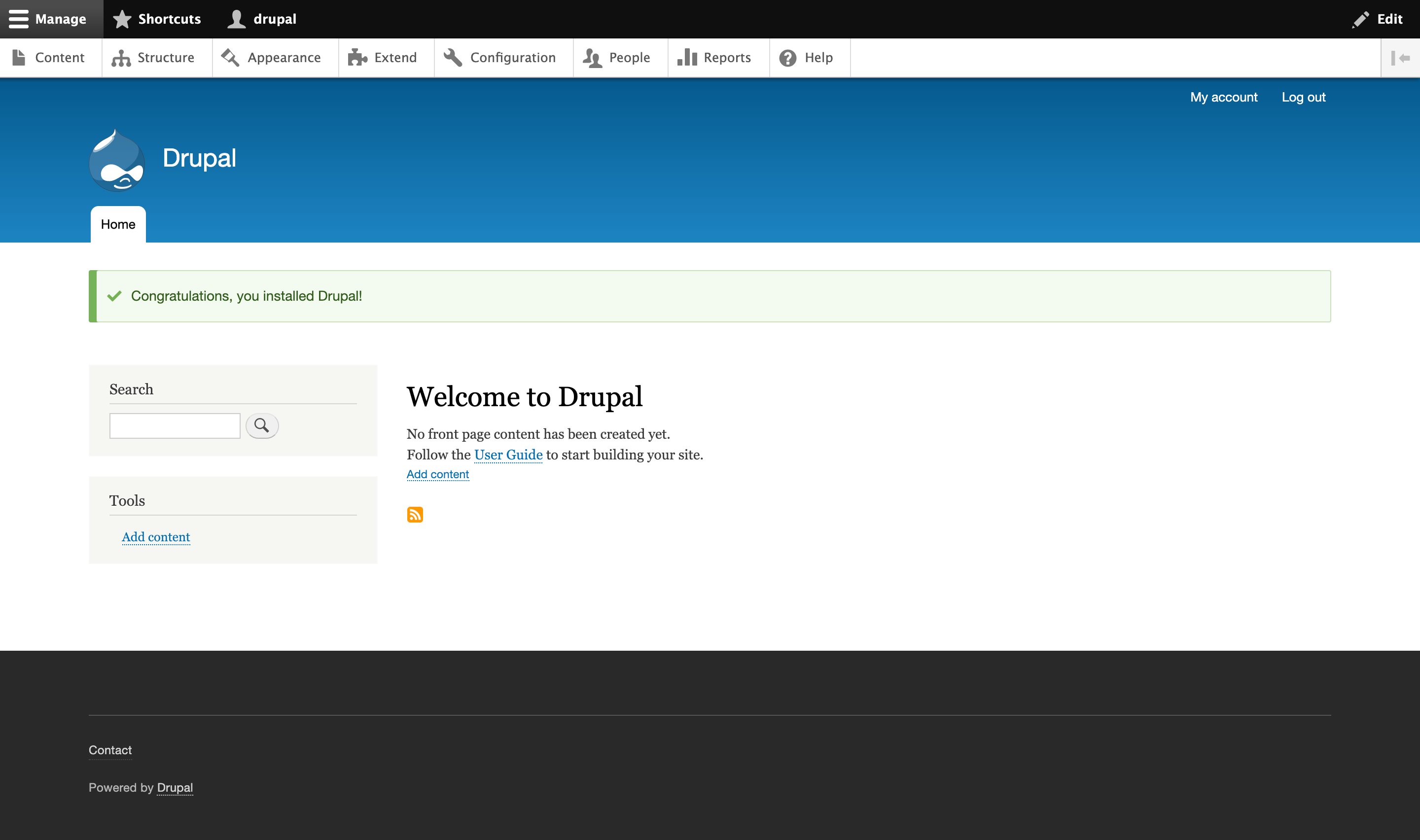 Welcome to Drupal page on Drupal web interface