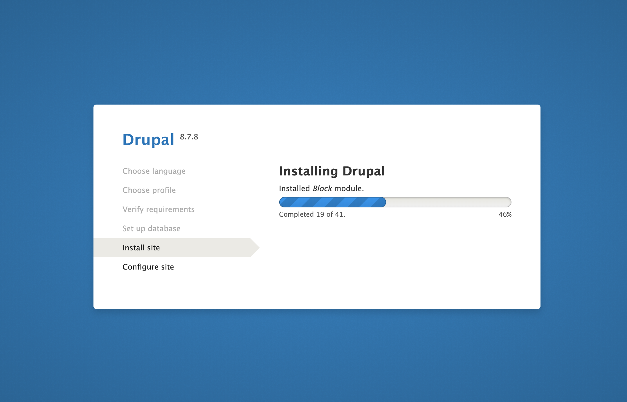 Install site page on Drupal web interface