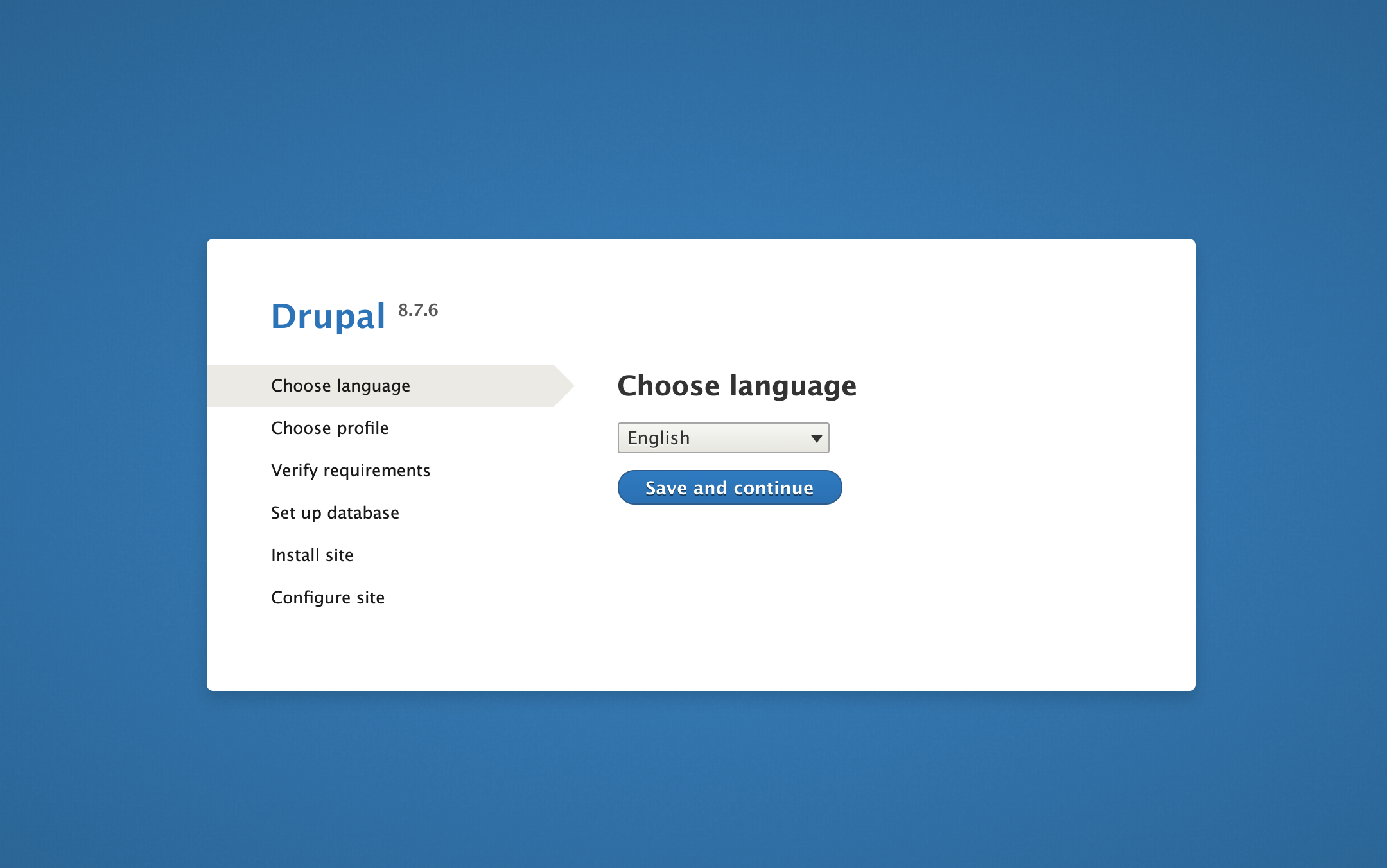 Choose language page on Drupal web interface