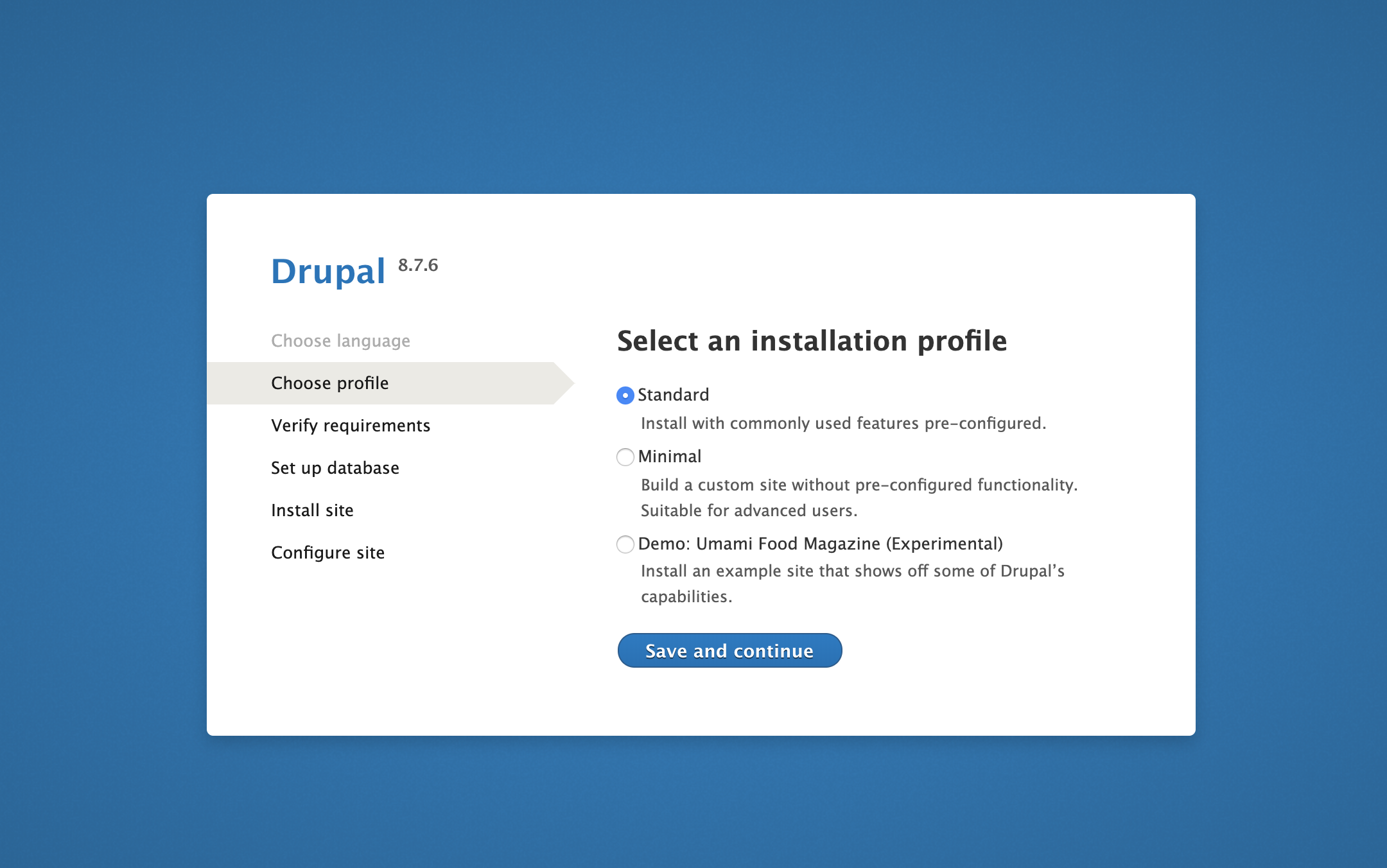 Choose profile page on Drupal web interface
