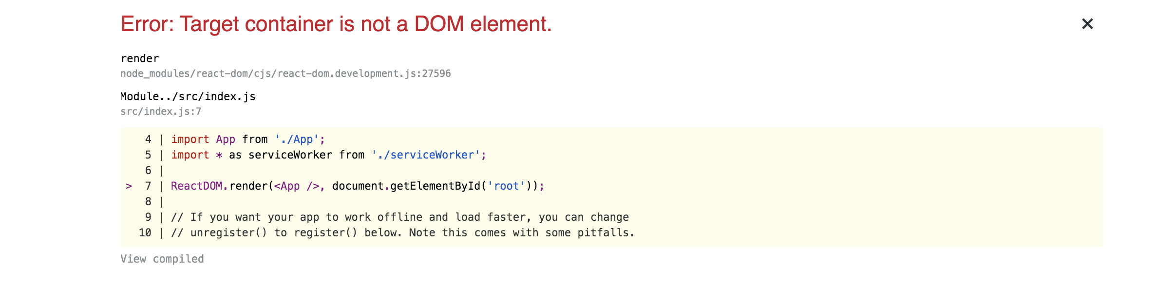 "Mensaje de error con la leyenda ""Target container is not a DOM element"""