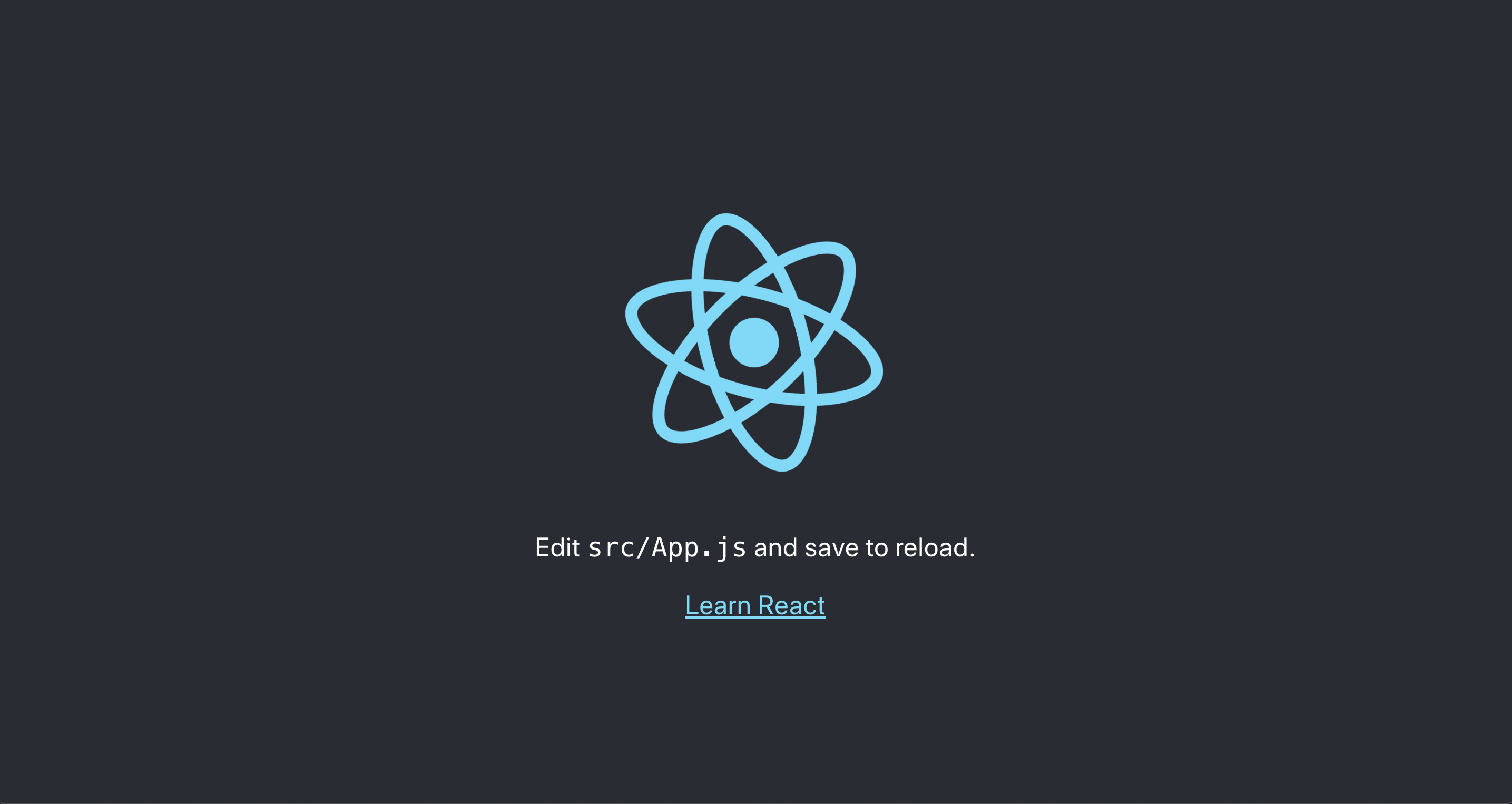 React project template running locally