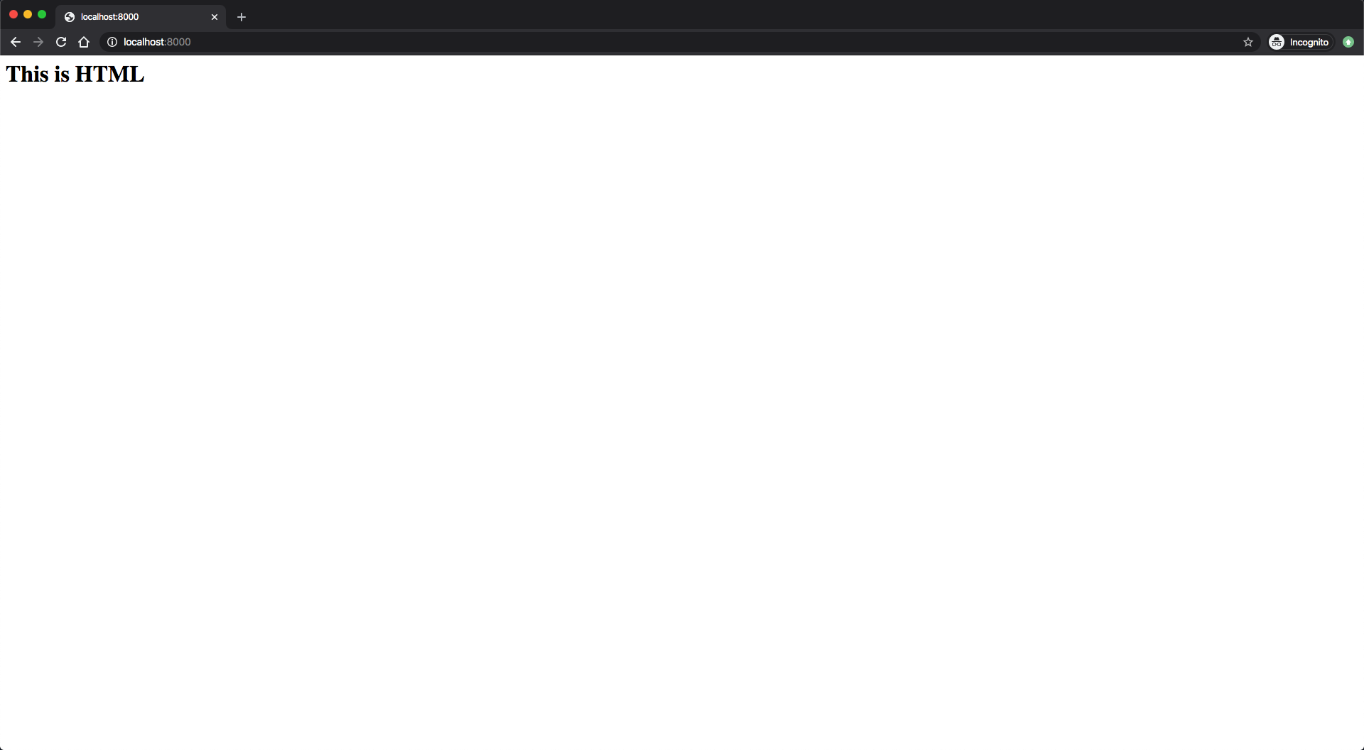 Image of HTML response returned from Node.js server