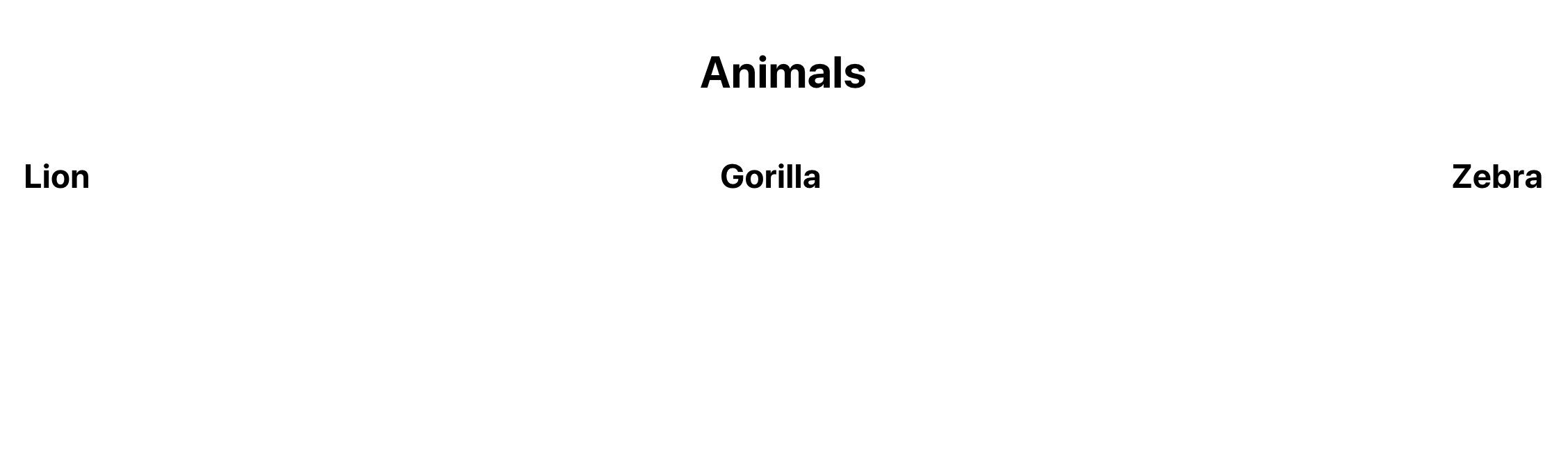 React projects with animal names rendered
