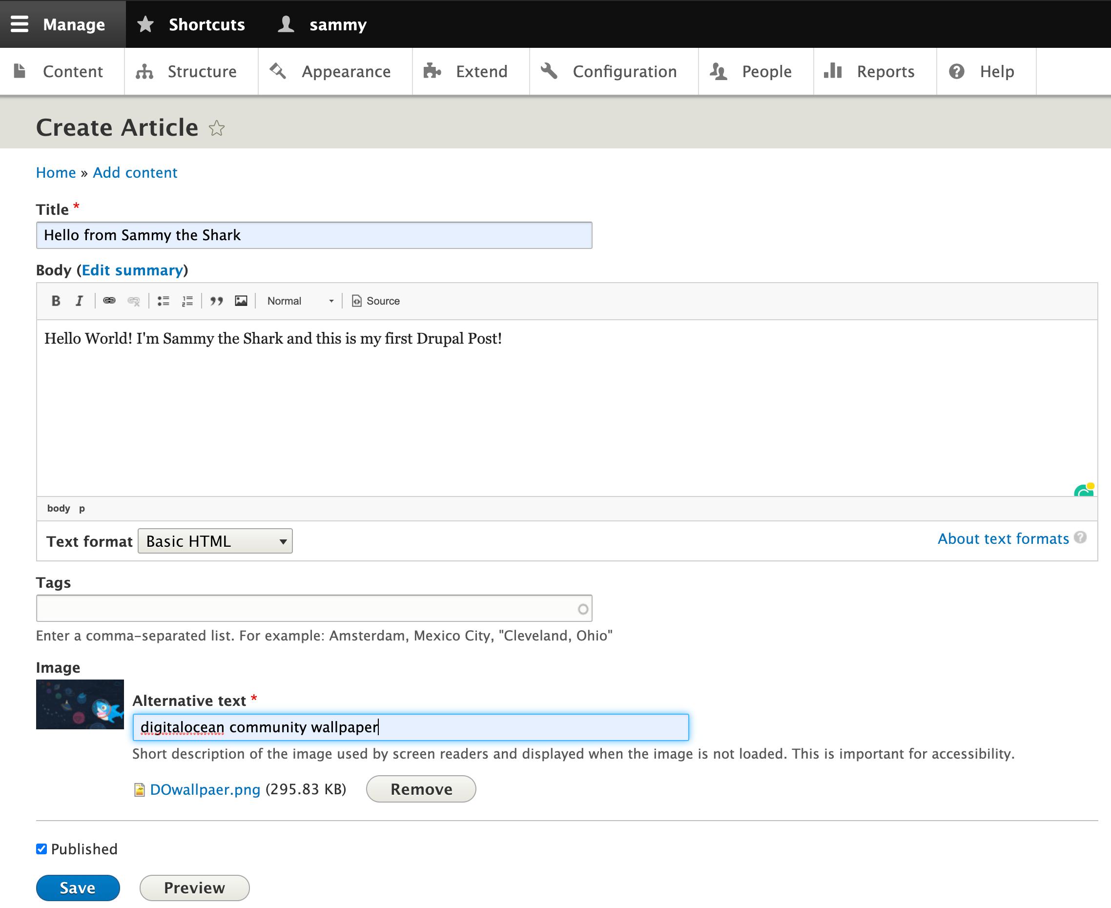 Строка создания статьи в Drupal 9