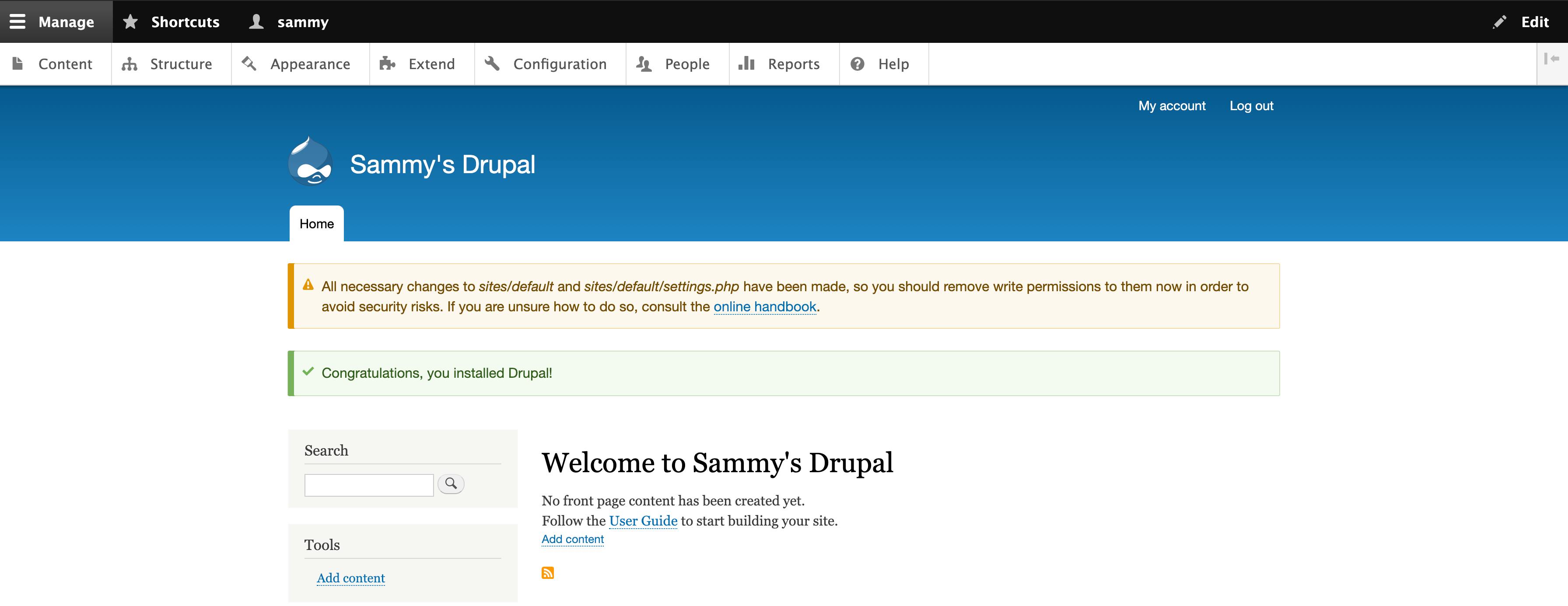 Приветственное сообщение Drupal 9 с предупреждением о разрешениях
