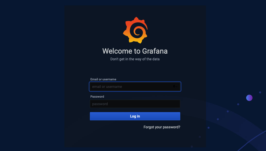 Login no Grafana