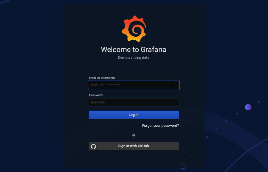 Página de inicio de sesión con GitHub de Grafana