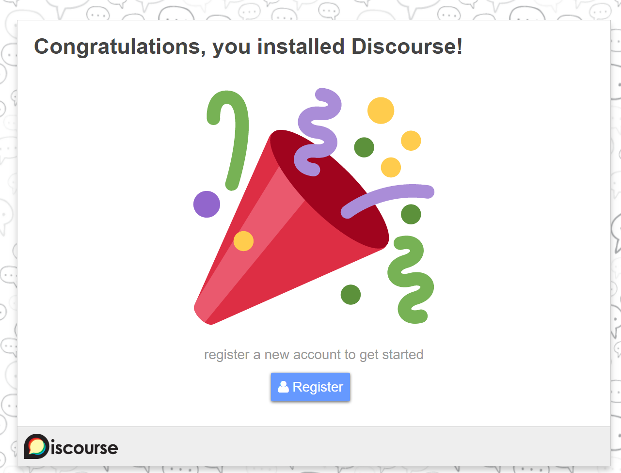 Discourse congratulations screen