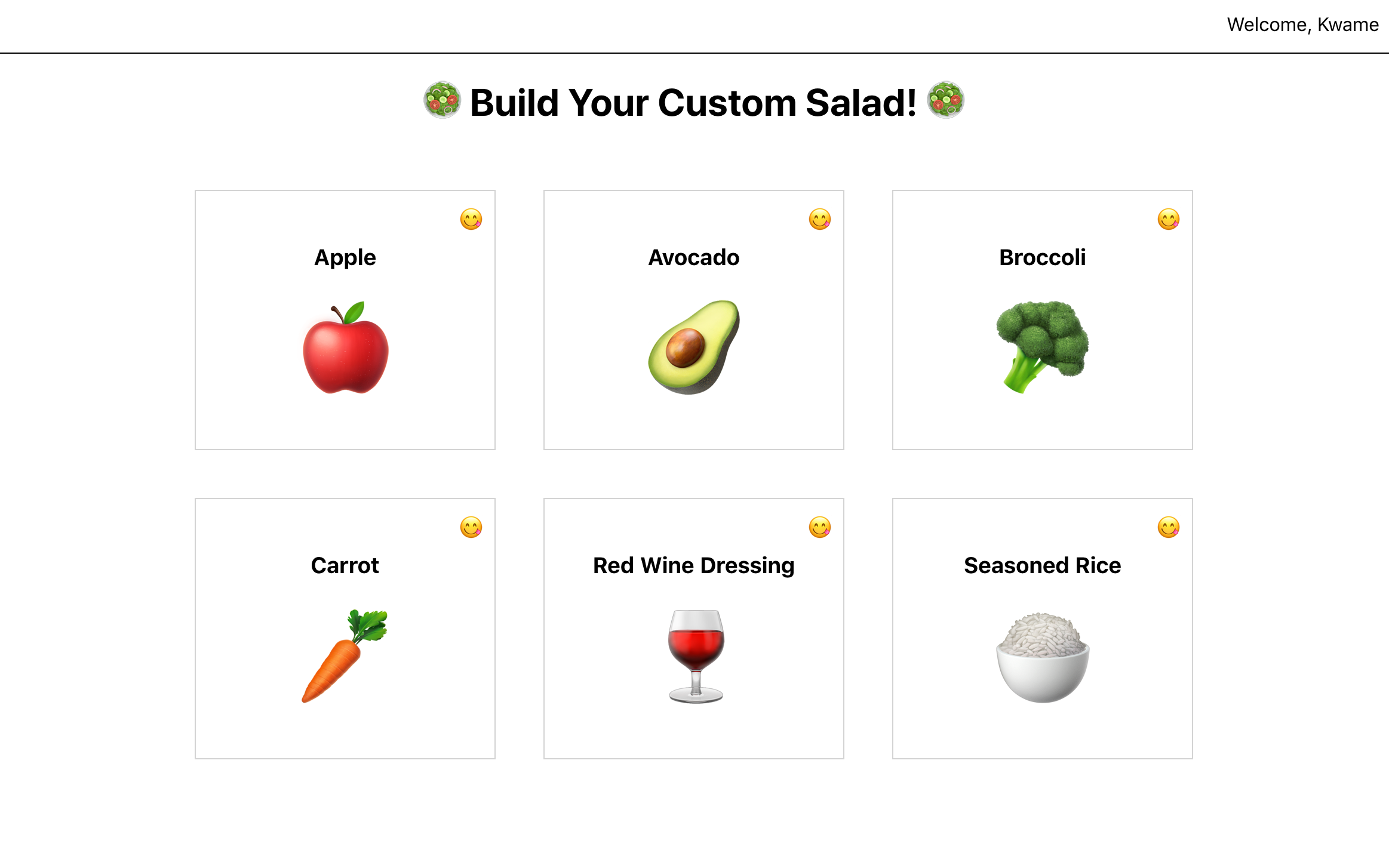 Salad Builder with Items