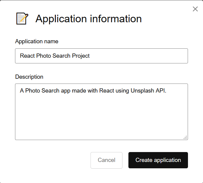 Unsplash Application Information Pop-up