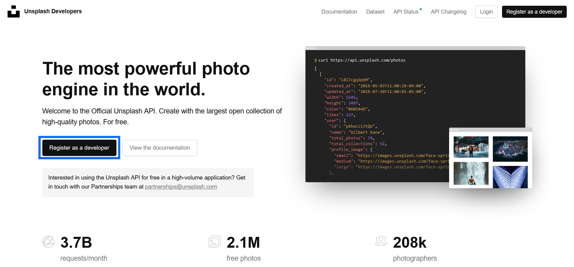 Unsplash Developer page