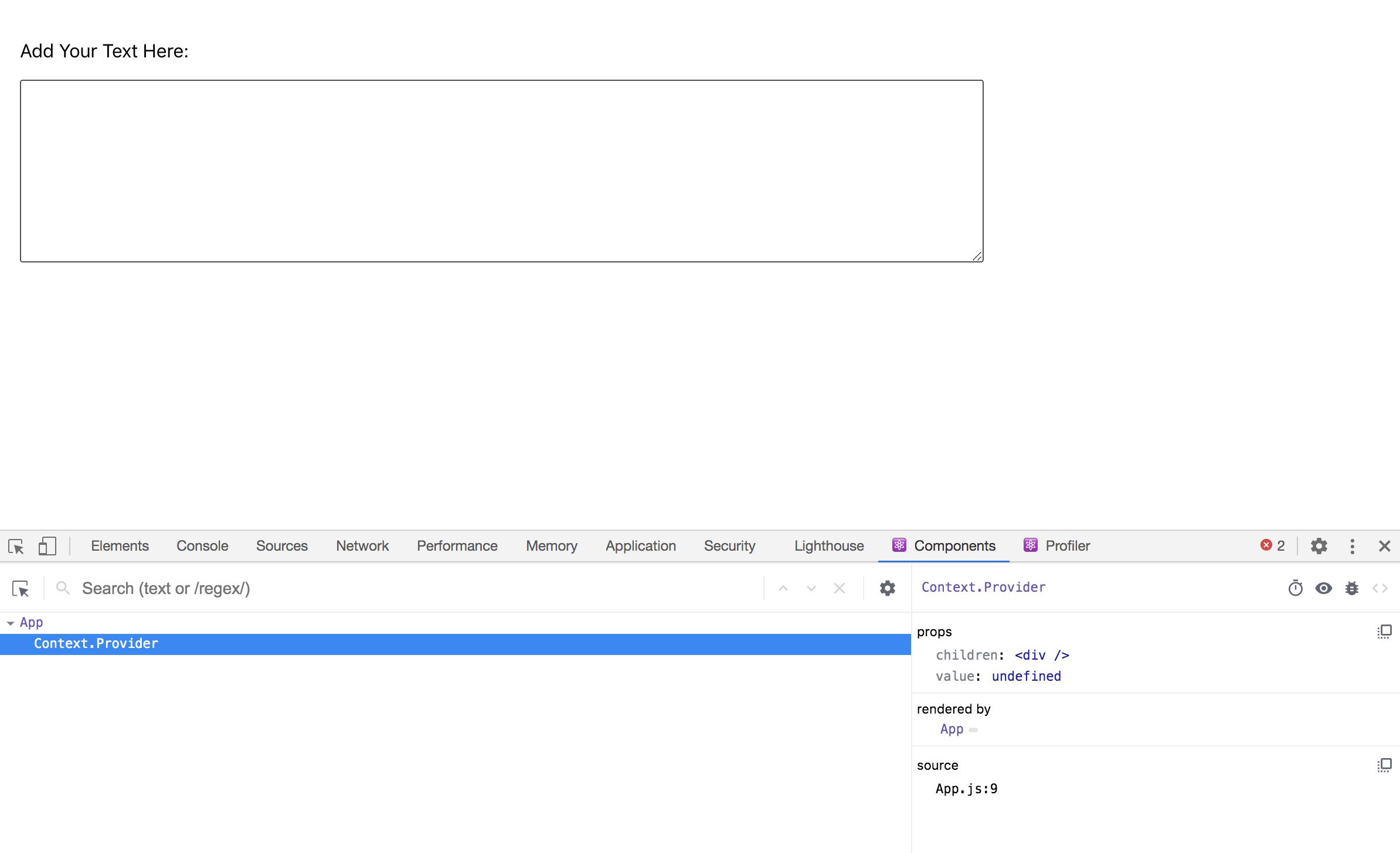 Component context in React Developer Tools