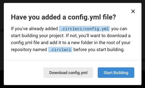 Popup confirming the config file for the CircleCI build