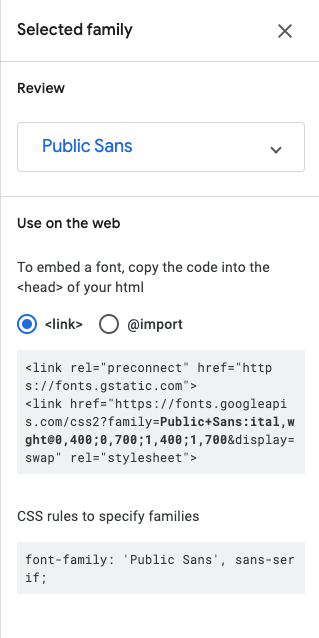 Selected font family tool, with the HTML and CSS lines needed to use Public Sans.