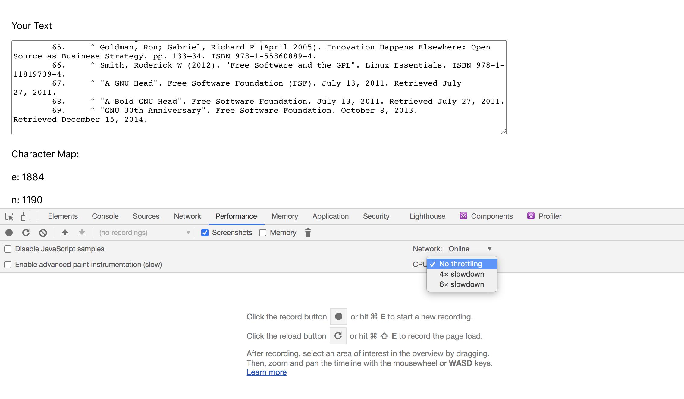 Performance Throttling in Chrome DevTools