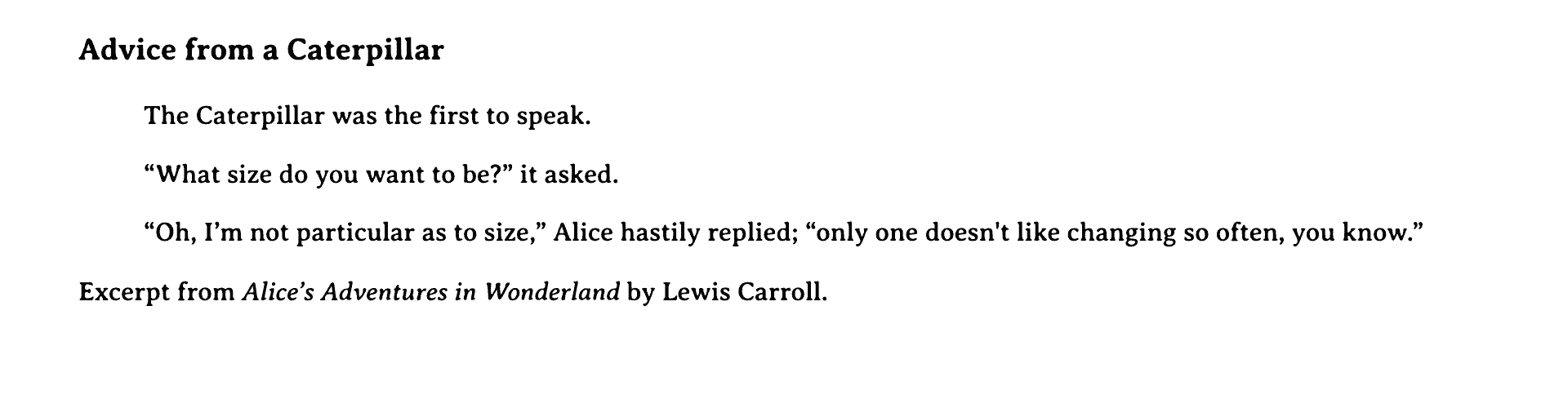 Text selection in a custom serif font with an old typeset style in black with a larger, bold header, an indented quotation, and citation of the quote.