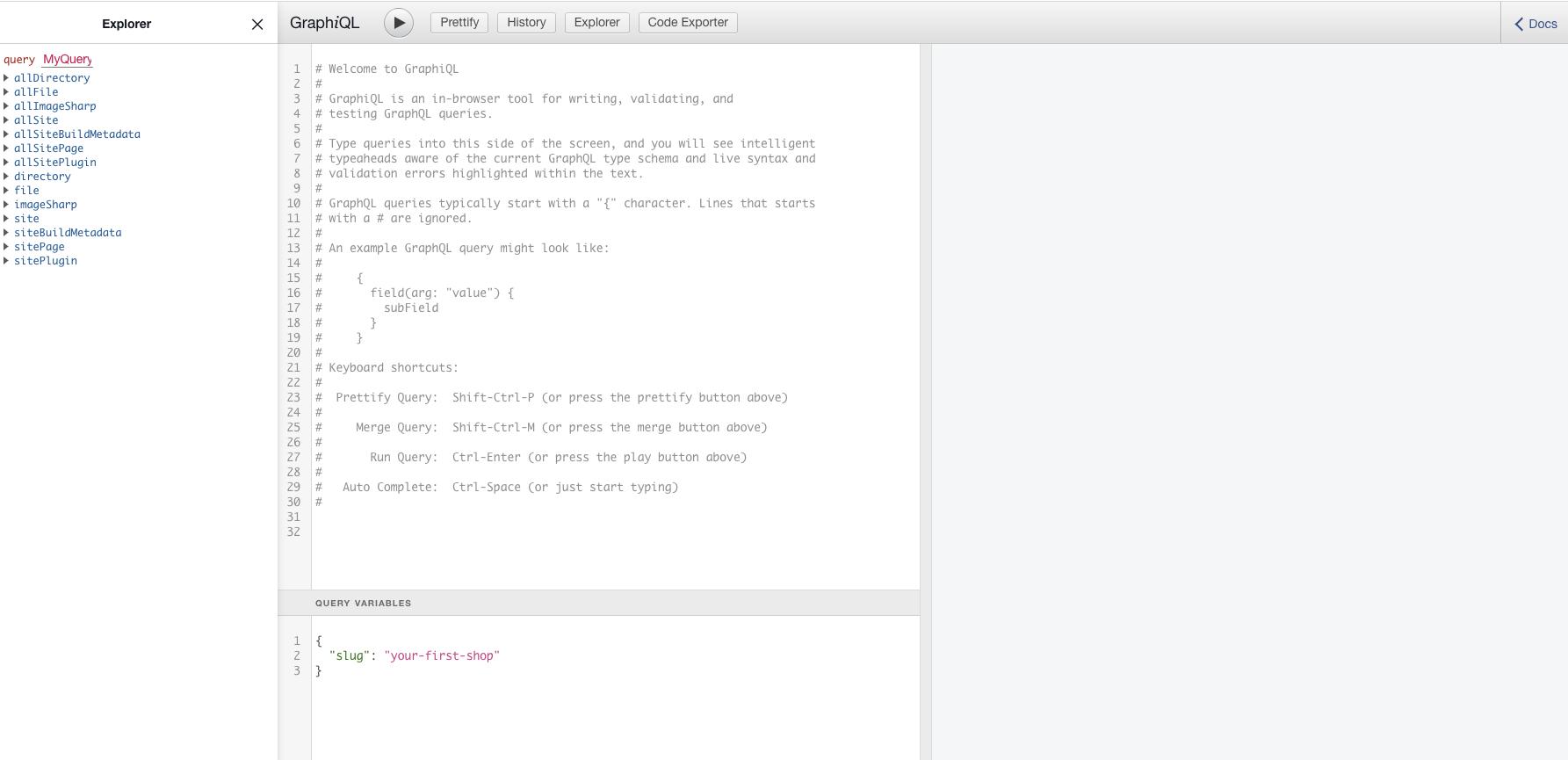 Screenshot of the GraphQL IDE
